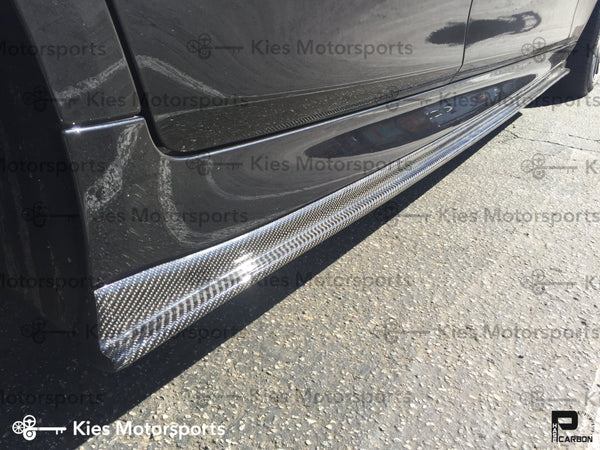 black f10 m5 3d style carbon fiber side skirt extensions 01
