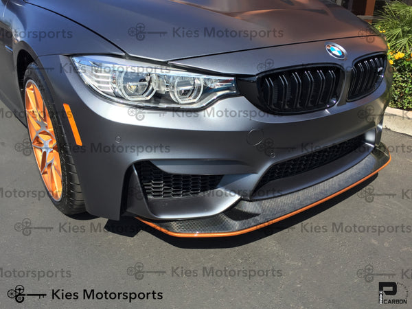 grey f82 m4 gts style front lip installed painted orange