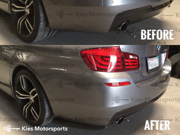 grey f10 m performance carbon fiber rear splitters before after