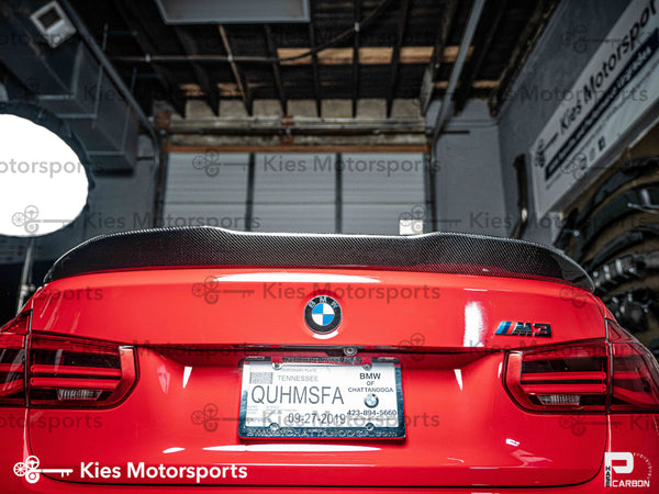 red f80 psm style carbon fiber trunk spoiler lip 01
