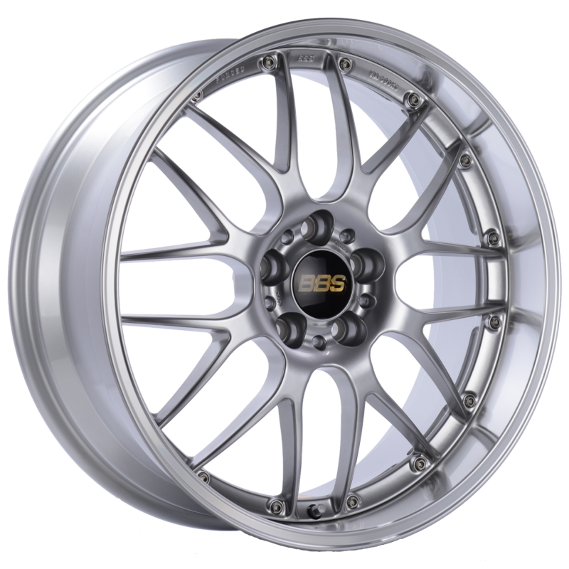 BBS RS-GT 19x10 5x120 ET25 Diamond Silver Center Diamond Cut Lip Wheel -82mm PFS/Clip Required