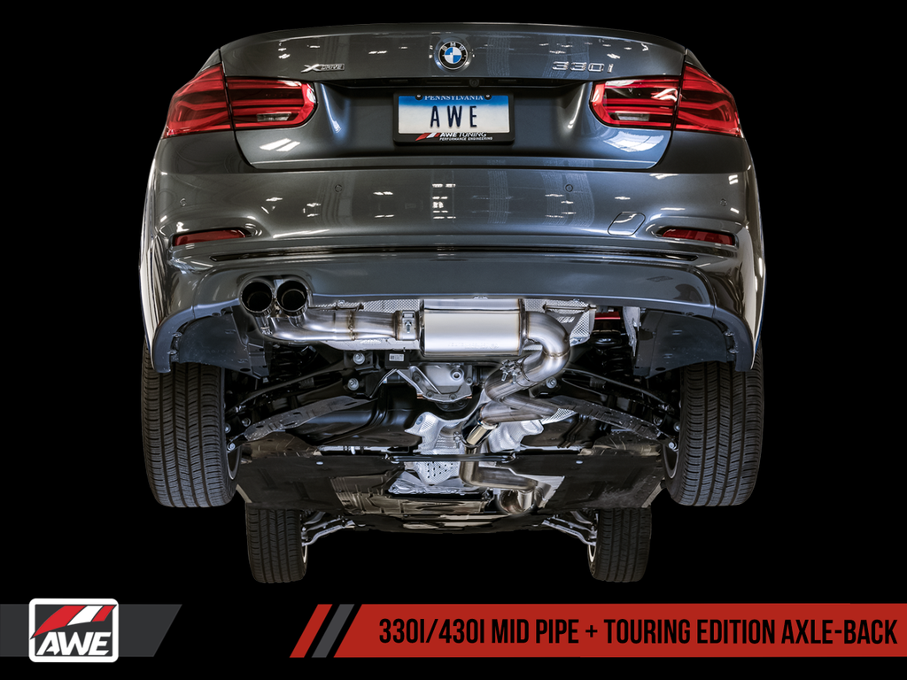 AWE Tuning F30/F32 BMW 328i/330i/428i/430i Touring Edition Axle-Back Exhaust Suite