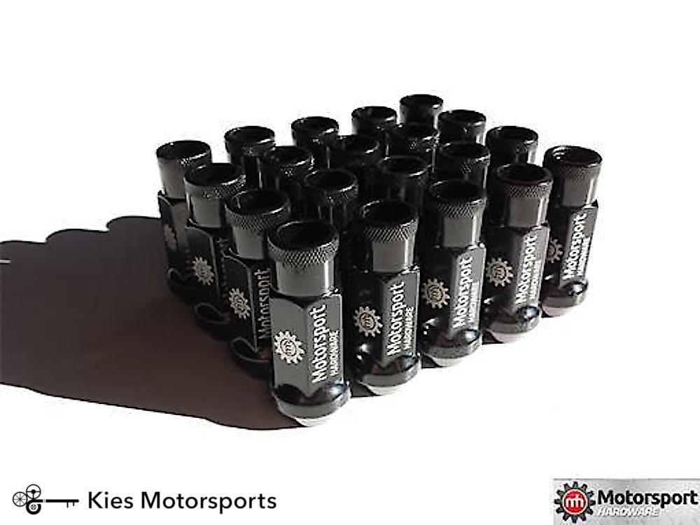Motorsport Hardware 82mm Black Race Stud Kit 12 x 1.5 (5 LUG)(E Series) - Kies Motorsports