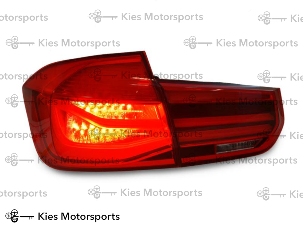 DEPO 2012-2015 BMW 3 Series F30 LCI Sedan LED Light Bar Rear Tail Lights - OEM Red (4 pcs)