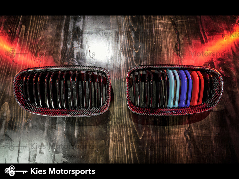 2008-2012 BMW LCI E90 3 Series Carbon Fiber Double Slatted Kidney Grills