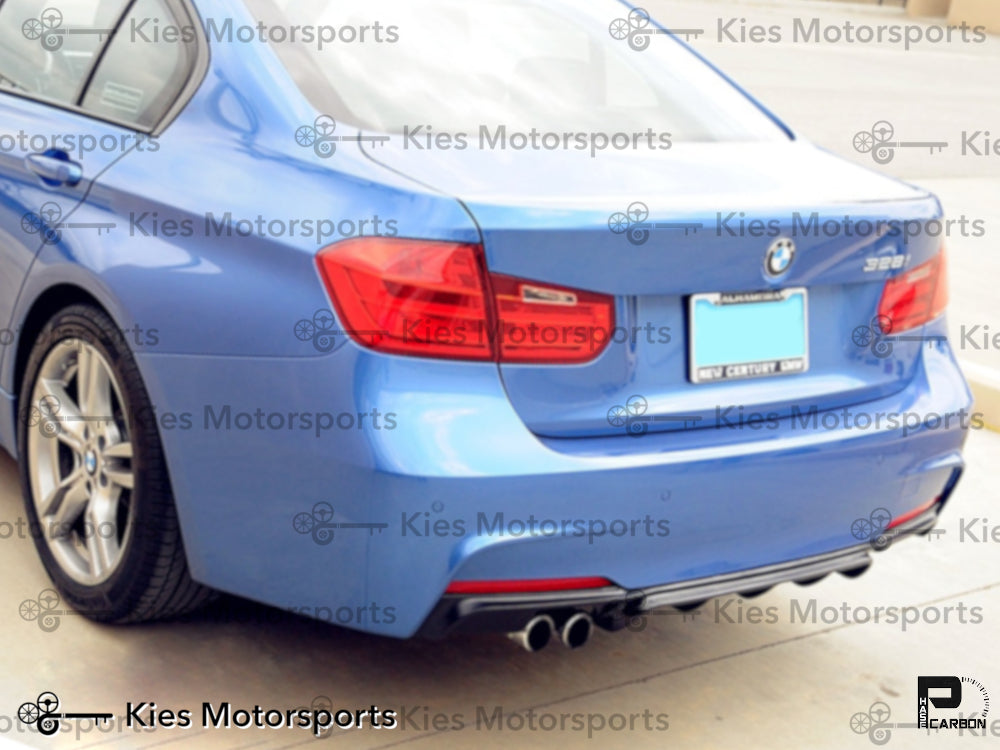 2012-2018 F30 & F31 BMW 3 Series M Performance Style Carbon Fiber Rear Diffuser