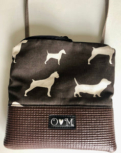 Stella Brown Cross Body Purse-Dogs