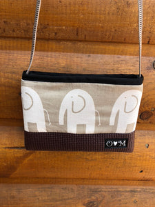 Brown Long Strap Purse - Tan/White  Elephant print