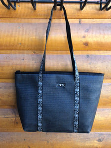 Merle Black ZIPPER Top Tote Bag