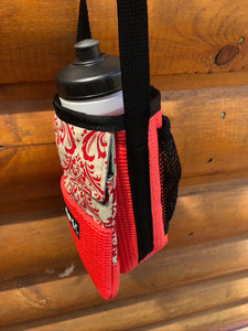 Red Damask Print Water Bottle Holder Purse-Ajax