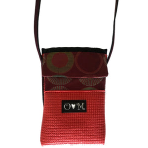Red Sunburst Print Water Bottle Holder Purse