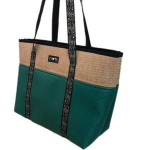 Jute Tote Zipper Top=Seafoam