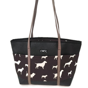 Molly Black & Brown Dog Print Tote Bag