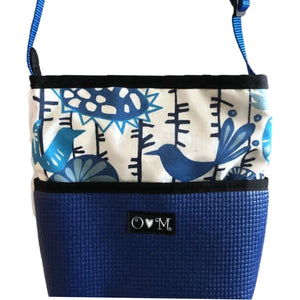 Bernie Royal Blue Bird & Floral Print Crossbody Purse