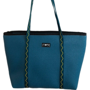 Merle Dark Teal ZIPPER Top Tote Bag