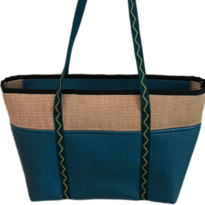 Jute Tote Zipper Top-Dark Teal