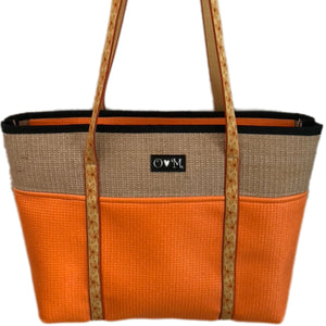 Jute Tote Zipper Top-Orange