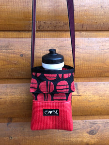 Red Dot Print Water Bottle Holder Purse