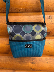 Bernie Dark Teal Sunburst Print Crossbody Purse