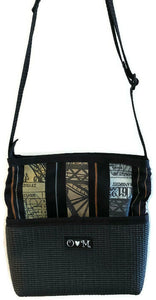 Bernie Black Stripe Print Crossbody Purse