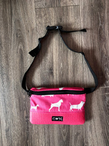 Fanny Pack Pink Dog Print Fabric
