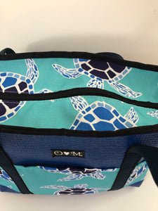 Molly Blue & Teal Turtle Print Tote