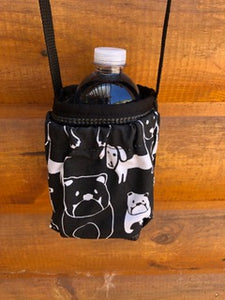 Water Bottle Holder with Dog Print Pocket