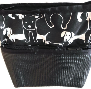 Closeup Of Black Crossbody Bag With Dog Print