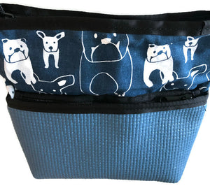 Beautiful Dog Print Purse In Slate Blue