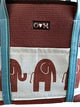 Brown tote with blu/brn Elephants-Molly