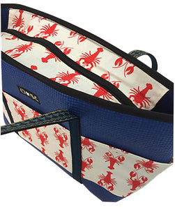 Side Molly Blue Lobster Print Tote Bag