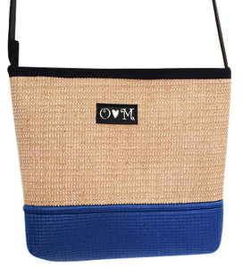MJB Royal BLue and Jute yoga mat with shoulder strap