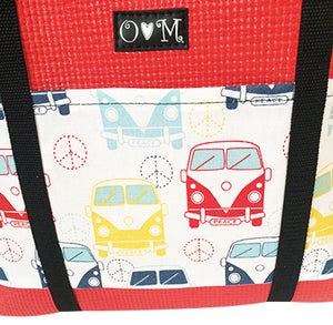 Molly Red VW Bus Print Large Tote Bag