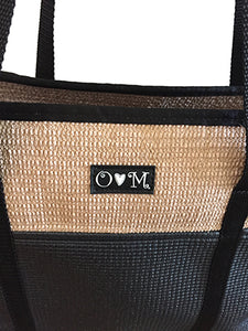 Jute Tote Zipper Top-Black