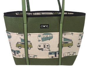 Molly Olive Camper print fabric