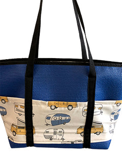 Molly Royal Blue Camper Van Print Tote Bag