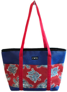 Molly blue turtle tote bag