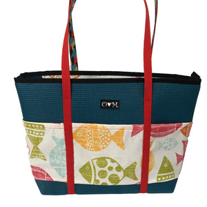 Molly Dark Teal Fish Print Tote