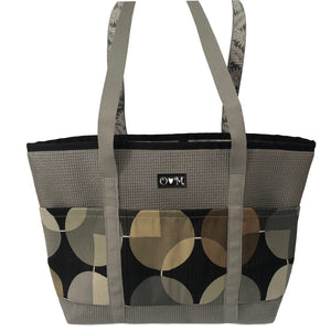 Molly Gray Circles Print Tote Bag