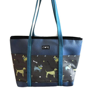 Slate Tote dog print-Molly