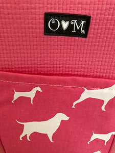Pink Tote with Dog Fabric-Molly