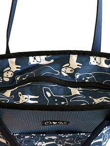 Blue Tote Bag With Dog Print Fabric