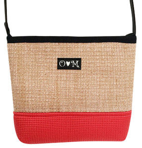 MJB Red yoga mat and Jute Yoga mat cross body purse
