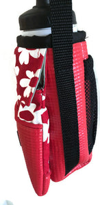 Red Floral Print Water Bottle Holder Purse