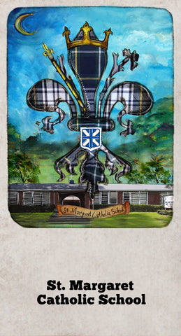 St Margaret Catholic School art design by Candice Alexander, Fleur De Lis Artist