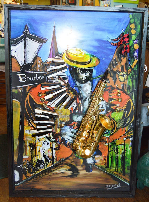 Large 3D New Orleans Jazz Saxophone Art by Candice Alexander, Fleur de Lis & Louisiana Artist