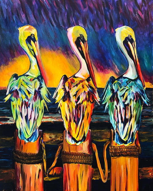 Three pelicans on dock Louisiana art by candice Alexander Louisiana art, acrylic painting