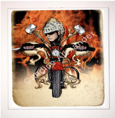 Biker with Flames