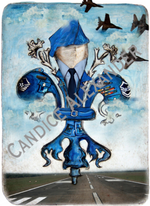 Air Force Fleur de Lis Art by Candice Alexander Louisiana Artist