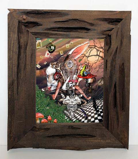 Candice Alexander Alice in Wonderland Fleur De Lis Louisiana Cypress Framed Signed Print
